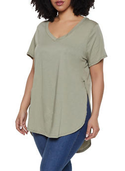 Plus Size Oversized V Neck Tee - 1915054260091