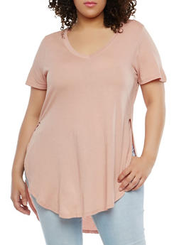 Plus Size Basic High Low Top - 1915054260491