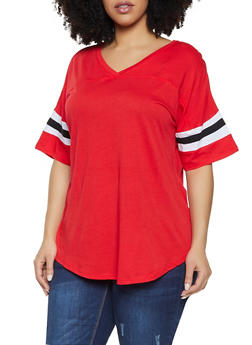 Plus Size Striped Sleeve V Neck Tee - 1915054260502