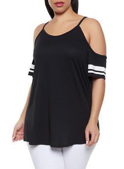 Black Plus Size Cold Shoulder Tops