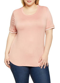 Plus Size Contrast Trim Tee - 1915054260817