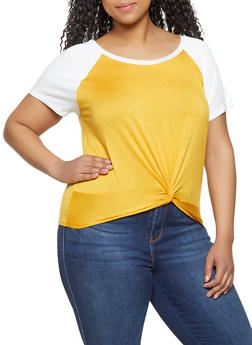 Plus Size Color Block Twist Front Tee - 1915054260876