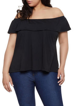 abc53f5689af22 Plus Size Off the Shoulder Ruffle Top - 1915054260878