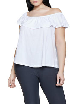 50e3d4175bb3b Plus Size Off the Shoulder Ruffle Top - 1915054260878