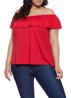 2256eb1b1c4ced Plus Size Off the Shoulder Ruffle Top - 1915054260878
