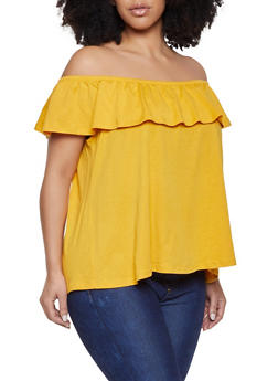 Plus Size Off the Shoulder Ruffle Top - 1915054260878