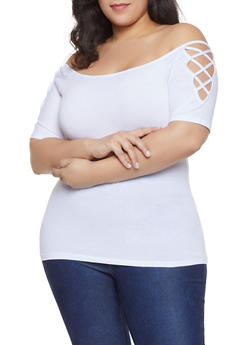 Plus Size Caged Off the Shoulder Top - 1915054260881