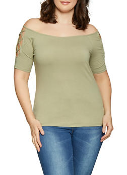 9343f60f73054 Plus Size Caged Off the Shoulder Top - 1915054260881