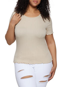Plus Size Rib Knit Lettuce Edge Tee - 1915054260882