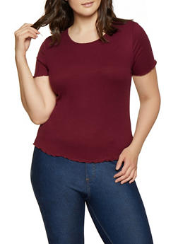 Plus Size Rib Knit Lettuce Edge Tee - 1915054260882