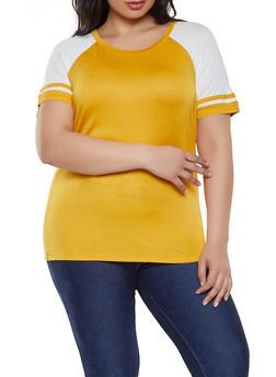 Plus Size Varsity Stripe Baseball Tee - 1915054260923