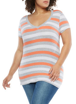 Plus Size Striped T Shirt - 1915054260992