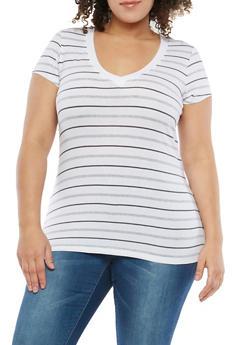 Plus Size Striped T Shirt - 1915054260994