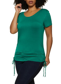 Plus Size Drawstring Side Scoop Neck Tee - 1915054261484