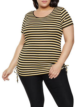 Plus Size Striped Drawstring Side Top - 1915054261548