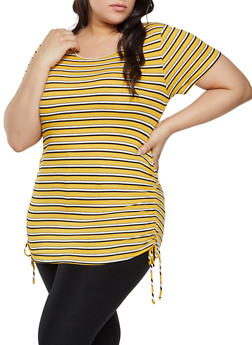 Plus Size Striped Drawstring Side Top - 1915054261548