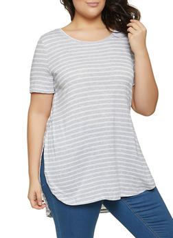 Plus Size Striped Tunic Top - 1915054261850