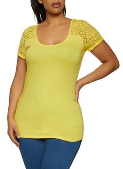 Plus Size Lace Yoke Tee - 1915054262998
