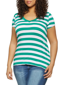 Plus Size Striped Short Sleeve Tee - 1915054263601