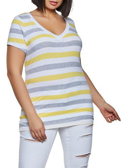 Plus Size V Neck Striped Tee - 1915054263602