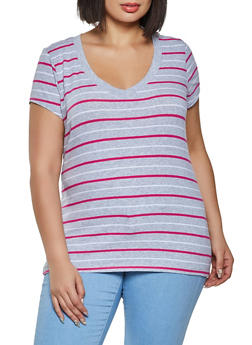 Plus Size Striped V Neck Tee - 1915054263604