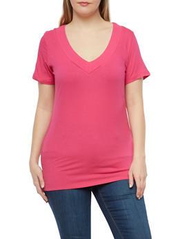 Plus Size Basic V Neck Top - 1915054265056