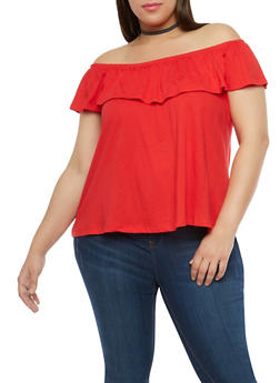 Plus Size Basic Off the Shoulder Top - 1915054265878