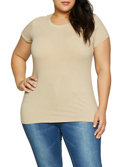 Plus Size Solid Crew Neck Tee - 1915054266400