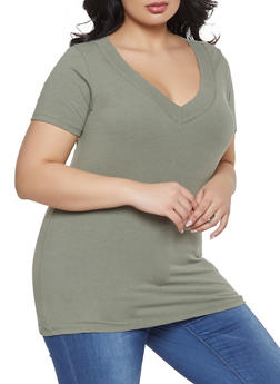 Plus Size Solid Short Neck V Neck Tee - 1915054266505