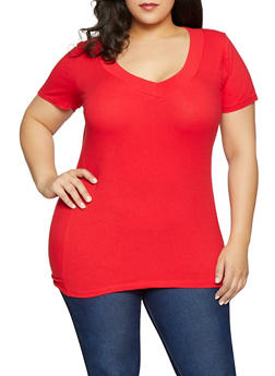 Plus Size V Neck Tee - 1915054266505