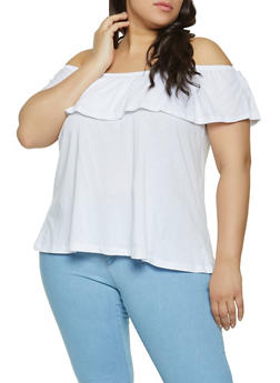 Plus Size Solid Ruffled Off the Shoulder Top - 1915054266587