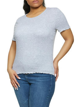 Plus Size Lettuce Edge Ribbed Tee - 1915054267882