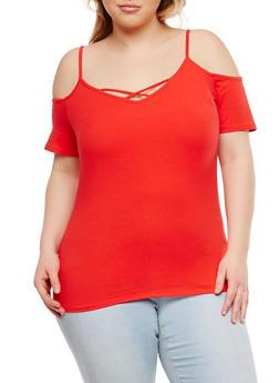 Plus Size Basic Caged Cold Shoulder Top - RED - 1915054269888