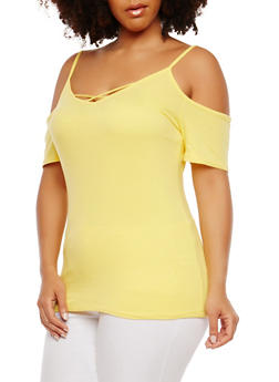 Plus Size Basic Caged Cold Shoulder Top - 1915054269888