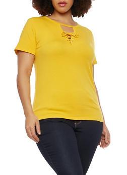 Plus Size Lace Up Keyhole T Shirt - 1915054269895