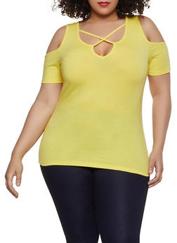 Plus Size Caged Cold Shoulder Tee - 1915054269926