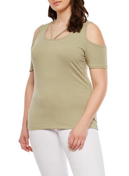 Plus Size Basic Caged Cold Shoulder Top - 1915054269927
