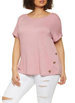 Plus Size Button Detail Top - 1915058750014