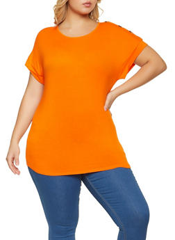 Plus Size Button Shoulder Detail Top - 1915058750015
