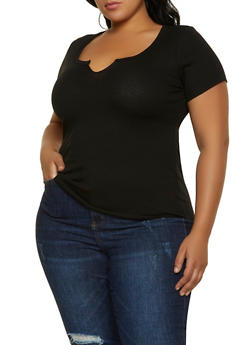 Plus Size Ribbed Tee - 1915058751443