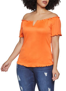 Plus Size Lettuce Edge Off the Shoulder Top - 1915058751798