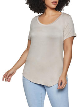 Plus Size Basic Scoop Neck Tee - 1915058753897