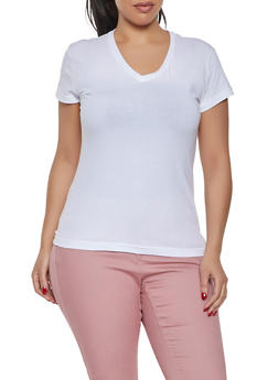 Plus Size Short Sleeve V Neck Tee - 1915062700062