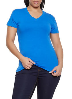 Plus Size Basic Short Sleeve V Neck Tee - 1915062702062
