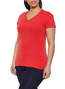 Plus Size Basic Short Sleeve V Neck Tee - 1915062702062