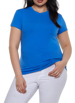 Plus Size Basic Crew Neck Tee - 1915062702064