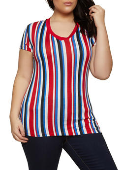 Plus Size Short Sleeve V Neck Striped Tee - 1915062702787