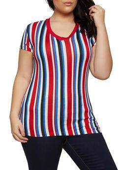 Plus Size Short Sleeve V Neck Striped Tee - 1915062702787