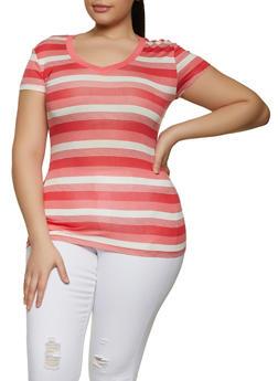 Plus Size Horizontal Stripe V Neck Tee - 1915062702790