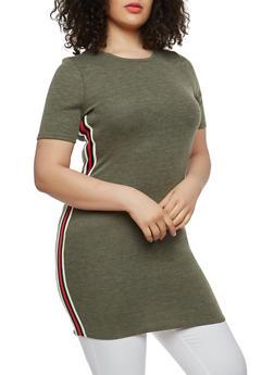 Plus Size Side Stripe Tunic Top - 1915074280030